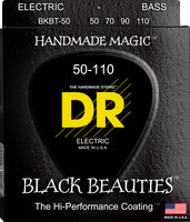DR Strings BKBT-50 Black Beauties Colored Bass Strings. 50-110 Tapered Black