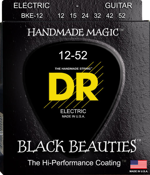 DR Strings BKE-12 Black Beauties Colored Electric Guitar Strings. 12-52 Black