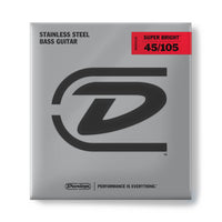 Dunlop DBSBS45105 Super Bright Stainless Steel Bass Strings. 45-105