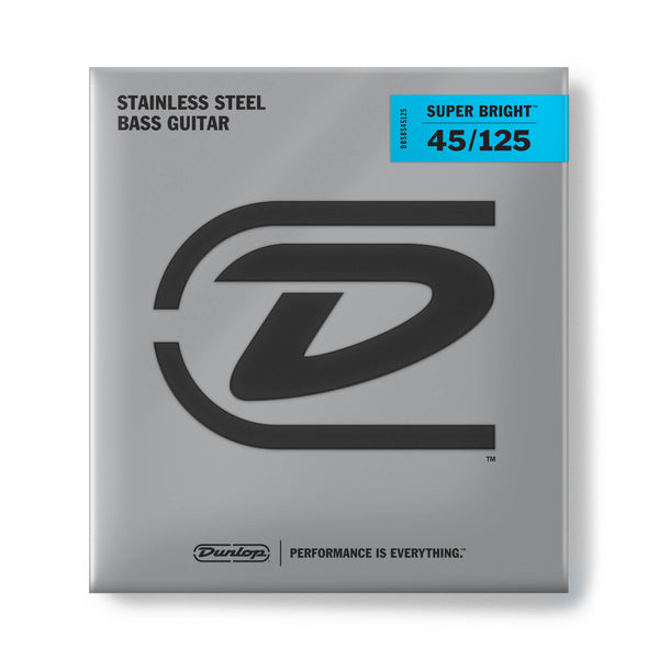 Dunlop DBSBS45125 Super Bright Stainless Steel Bass Strings (5 String). 45-125
