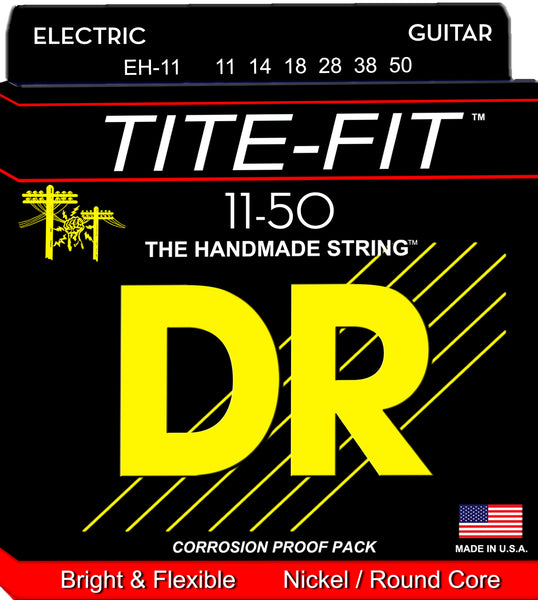 DR Strings EH-11 Tite-Fit Nickel Plated Electric Guitar Strings. 11-50