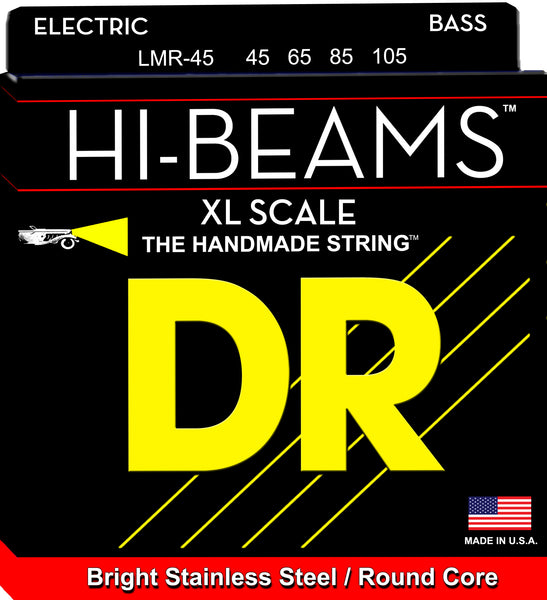 DR Strings LMR-45 Hi-Beam Stainless Steel Round Core Bass Strings. 45-105 Long Scale