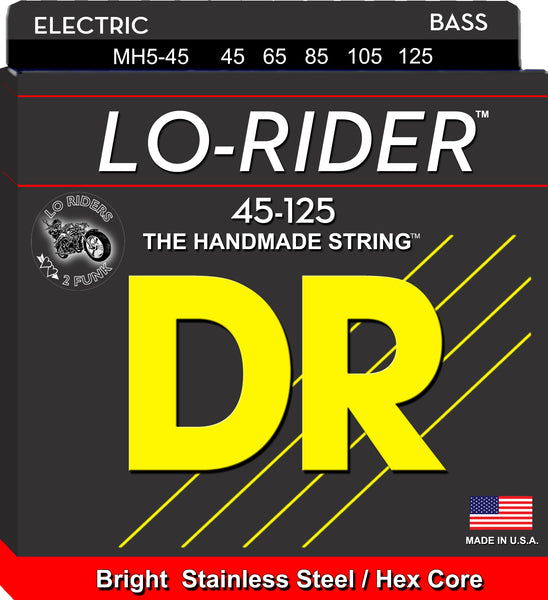 DR Strings MH5-45 Lo-Rider Stainless Steel Bass (5 String). 45-125