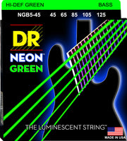 DR Strings NGB5-45 Hi-Def Neon Colored Bass Strings (5 String). Green 45-125