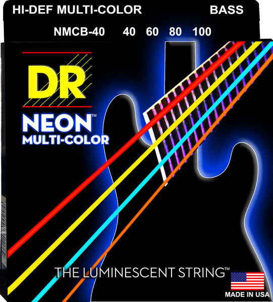 DR Strings NMCB-40 Hi-Def Neon Bass Strings. Multi-Color 40-100