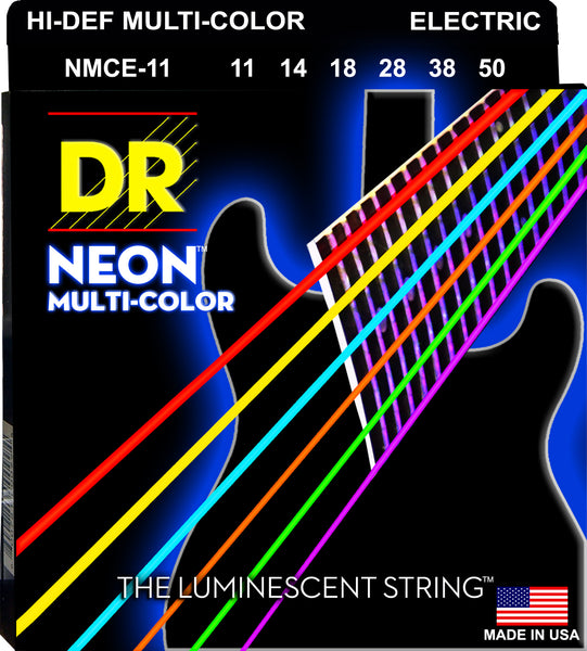 DR Strings NMCE-11 Hi-Def Neon Electric Guitar Strings. Multi-Color 11-50