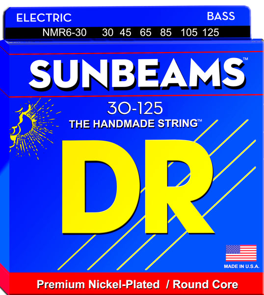 DR Strings NMR6-30 Sunbeams Nickel Plated Bass Strings (6 String). 30-125