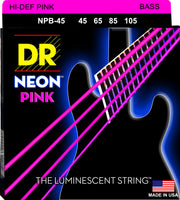 DR Strings NPB-45 Hi-Def Neon Bass Strings. Pink 45-105