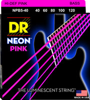 DR Strings NPB5-40 Hi-Def Neon Bass Strings (5 String). Pink 40-120
