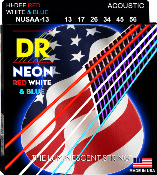 DR Strings NUSAA-13 Hi-Def Neon Acoustic Guitar Strings. Red White and Blue 13-56
