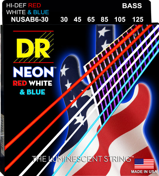 DR Strings NUSAB6-30 Hi-Def Neon Bass Strings (6 String). Red White and Blue 30-125