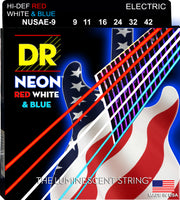DR Strings NUSAE-9 Hi-Def Neon Electric Guitar Strings. Red White and Blue 9-42