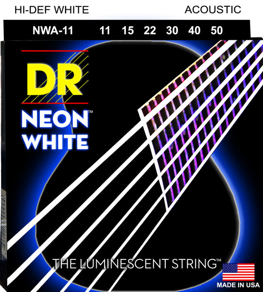 DR Strings NWA-11 Hi-Def Neon Acoustic Guitar Strings. White 11-50
