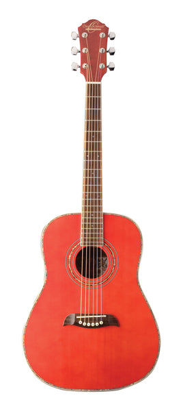 Oscar Schmidt OG1TR-A 3/4 Dreadnought Acoustic Guitar. Trans Red