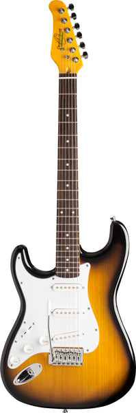 Oscar Schmidt OS-300-TS-LH-A Double Cut Solid Body Left-Handed Electric Guitar. Tobacco Sunburst