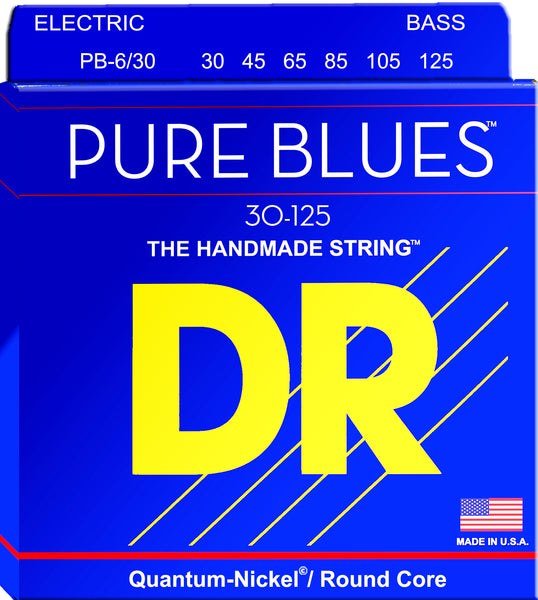 DR Strings PB6-30 Pure Blues Nickel Round Core Bass Strings (6 String). 30-125