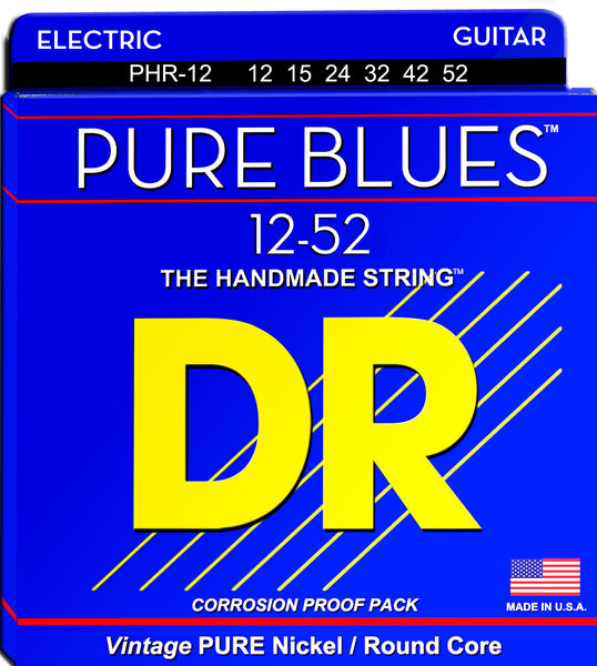 DR Strings PHR-12 Pure Blues Nickel Round Core Electric Guitar Strings. 12-52