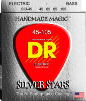 DR Strings SIB-45 Silver Stars Silver Plated and Nickel Plated Bass Strings. 45-105