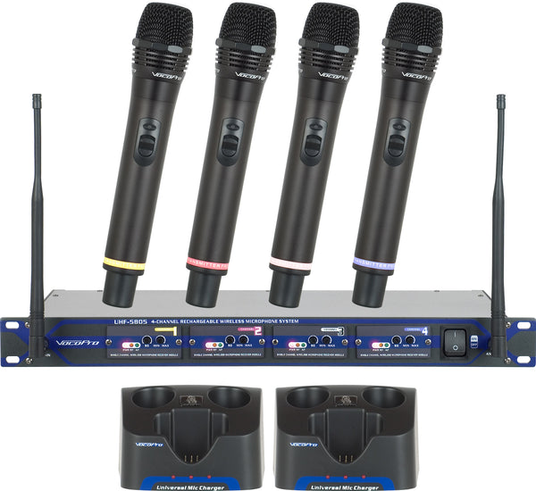 VocoPro UHF-58055 Pro Rechargeable 4-Channel UHF Wireless Microphone System