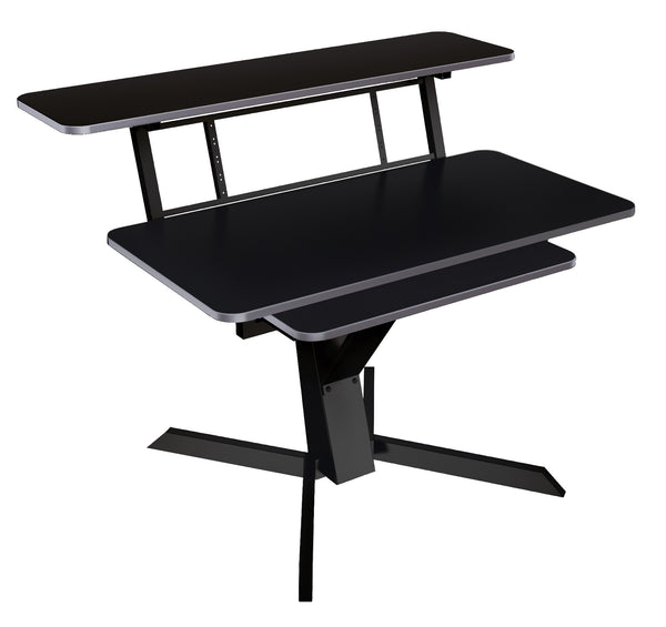 Quik Lok Z-460BK Triple Shelf Workstation w/ Black Tops and Pull Out Shelf