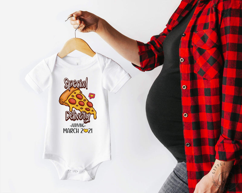Personalised Date Special Delivery Funny Pizza Baby Bodysuit - Little Lili Store