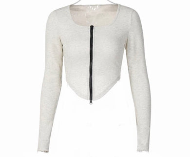 Long Sleeve Zip Up Ribbed Solid Crop Top