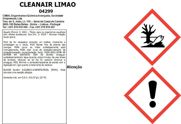 Desinfectante, germicida e desodorizante do ar - 5lt - CLEANAIR LIMÃO