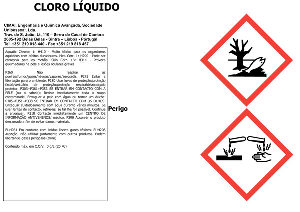 LIQUID CHLORINE - Broad spectrum disinfectant for swimming pool surfaces and waters