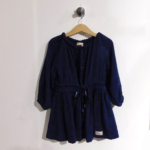 Piccolina Jacquard Button Through Navy dress - RedHill Childrenswear
