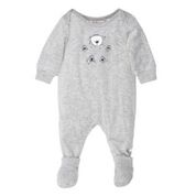 FOX & FINCH Juneau Floating Bear Velour Romper
