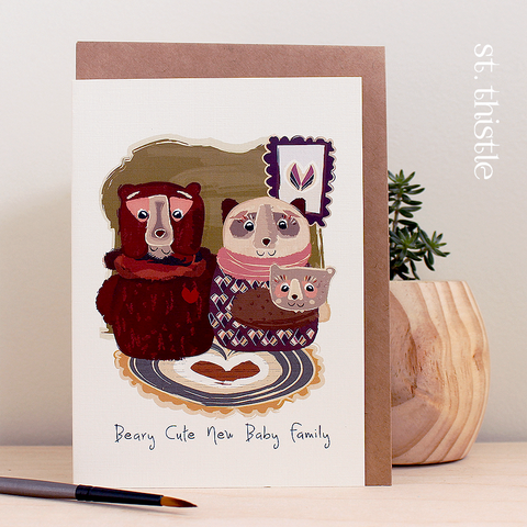 St Thistle Beary Cute Baby Card - RedHill Childrenswear