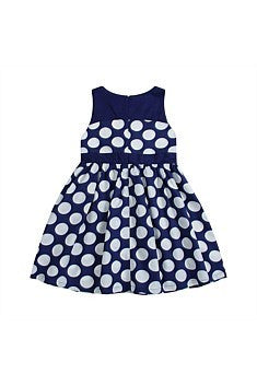 Funky Babe Oversize Dot Navy Dress - RedHill Childrenswear