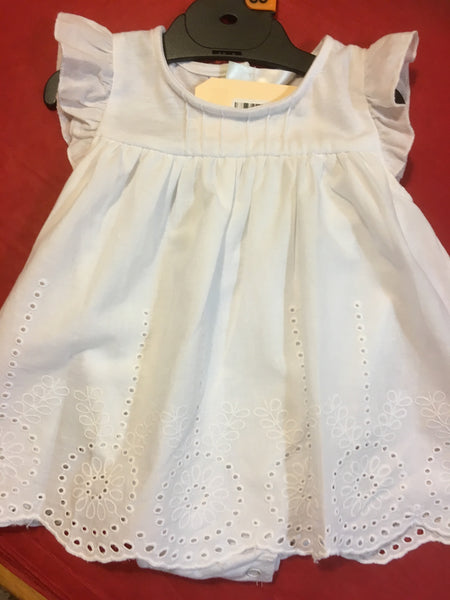 Baby Broderie White Romper Dress
