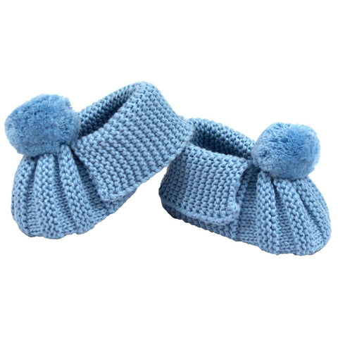 Korango Blue Knit Pom Pom Booties - RedHill Childrenswear