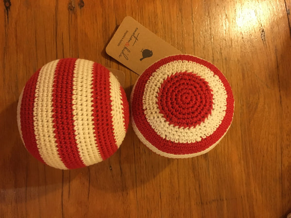 Emotion & Kids Red and White Stripe Crochet Rattle Ball - RedHill Childrenswear