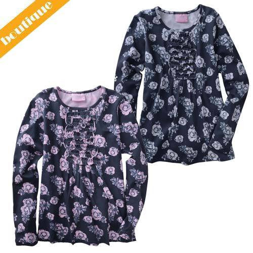 Funky Babe Charcoal Roses Top - RedHill Childrenswear