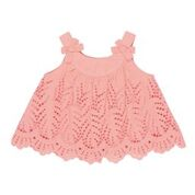 BEBE Alexa Blouse/Top  with Lace Cut Work Coral