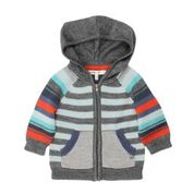 FOX & FINCH Juneau Stripe Knit Hooded Jacket