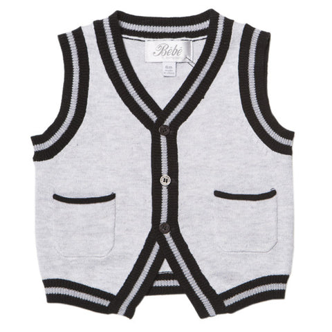 BEBE George Button Front Grey Marle Vest - RedHill Childrenswear