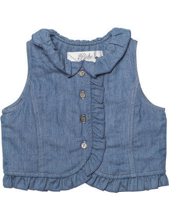 BEBE Harper Denim Plush Lined Vest - RedHill Childrenswear