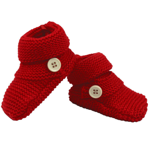 Korango Knit Red Button Booties - RedHill Childrenswear