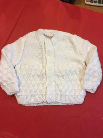 Handmade Knitted White Cardigan - RedHill Childrenswear