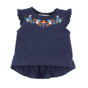 BEBE Nora Frilled Sleeve Navy Top