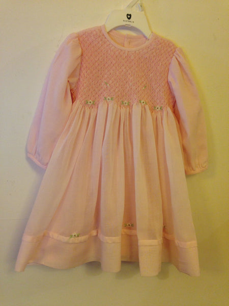 Korango Pink Smocked Long Sleeve Dress - RedHill Childrenswear
