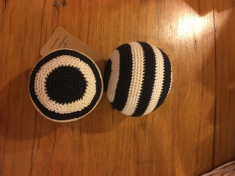 Emotion & Kids Navy and White Stripe Crochet Ball Rattle - RedHill Childrenswear