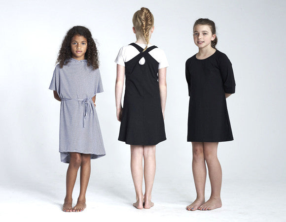 Little Mouse Brown Girls Black Cross Back Dress - RedHill Childrenswear