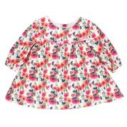 Bebe Indigo Floral LS Yoke Dress