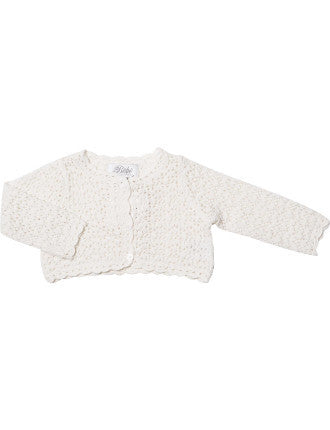 BEBE Crochet Knit Ivory Cardigan - RedHill Childrenswear