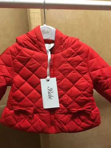 Bebe Quilted Red Jacket with Hood