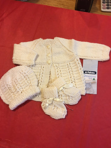 Handmade Cream Pure Wool Baby Set - RedHill Childrenswear
